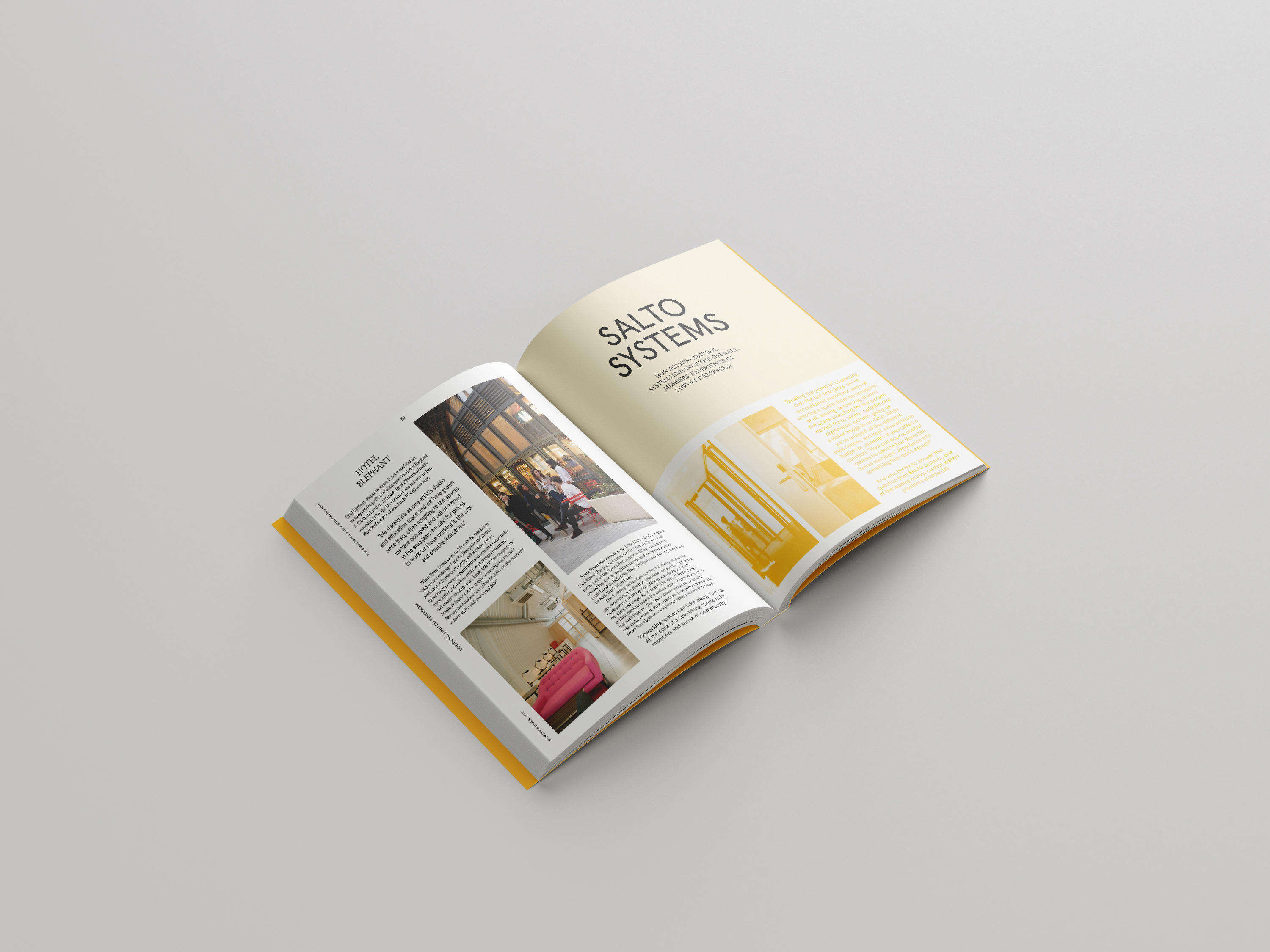 Coworking book page spread, open to page providing information on Salto Systems