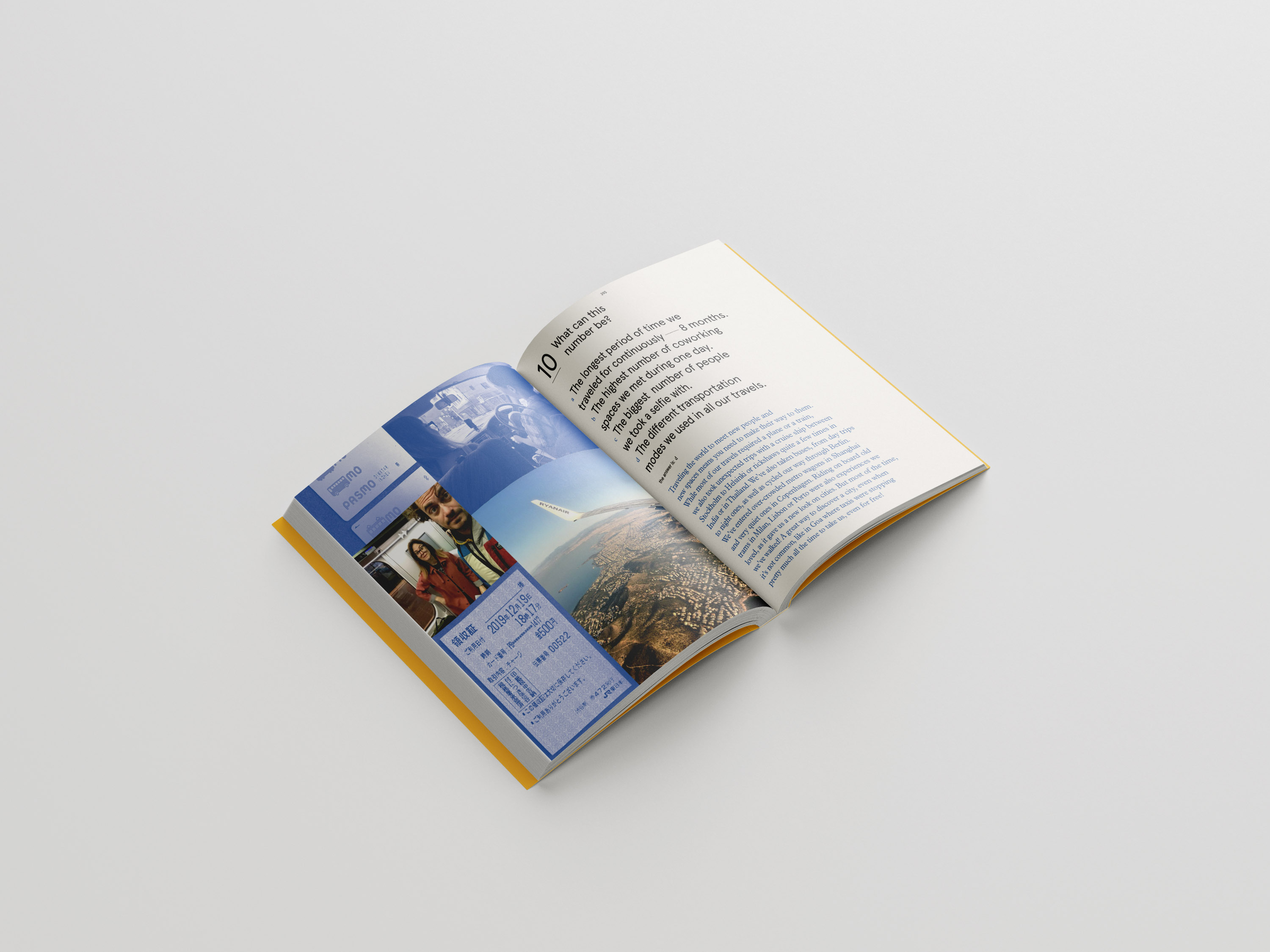 Coworking book page spread, open to page providing information on the authors' travel