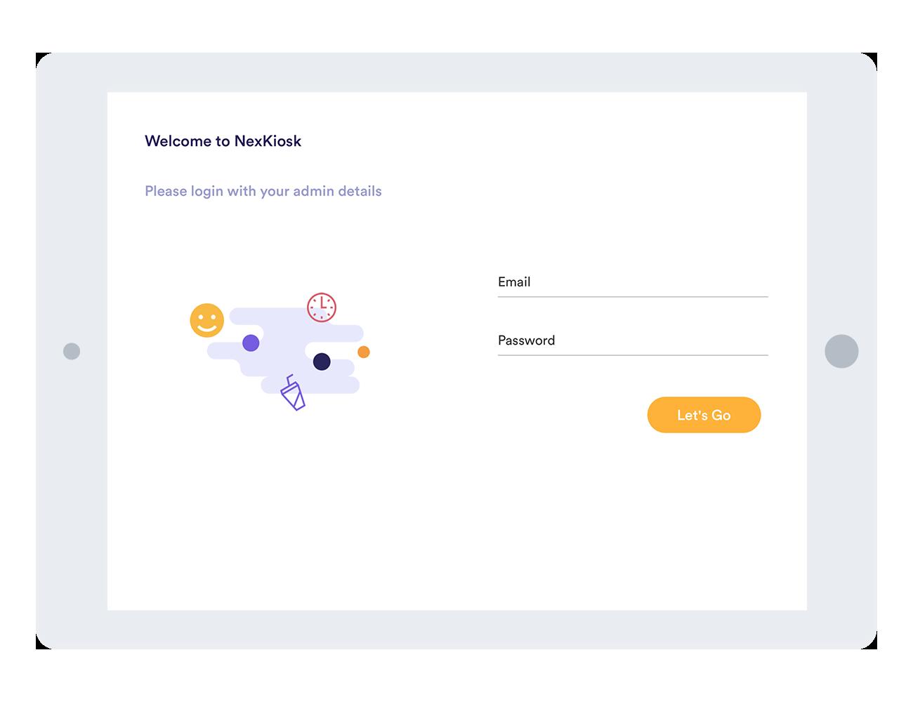 NexKiosk homepage screenshot on iPad frame