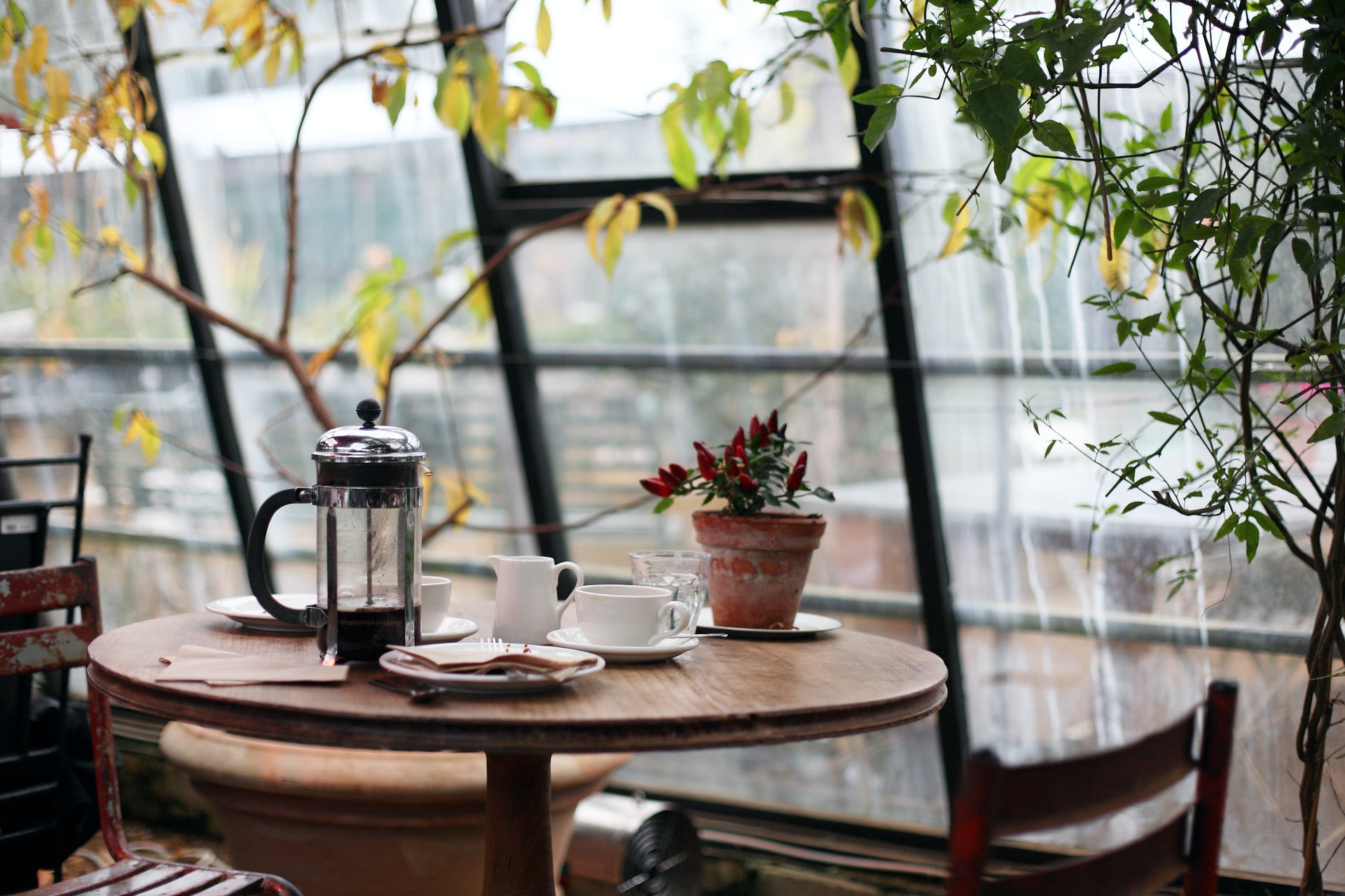 Coffee in a café. Image by @krisatomic via Unsplash