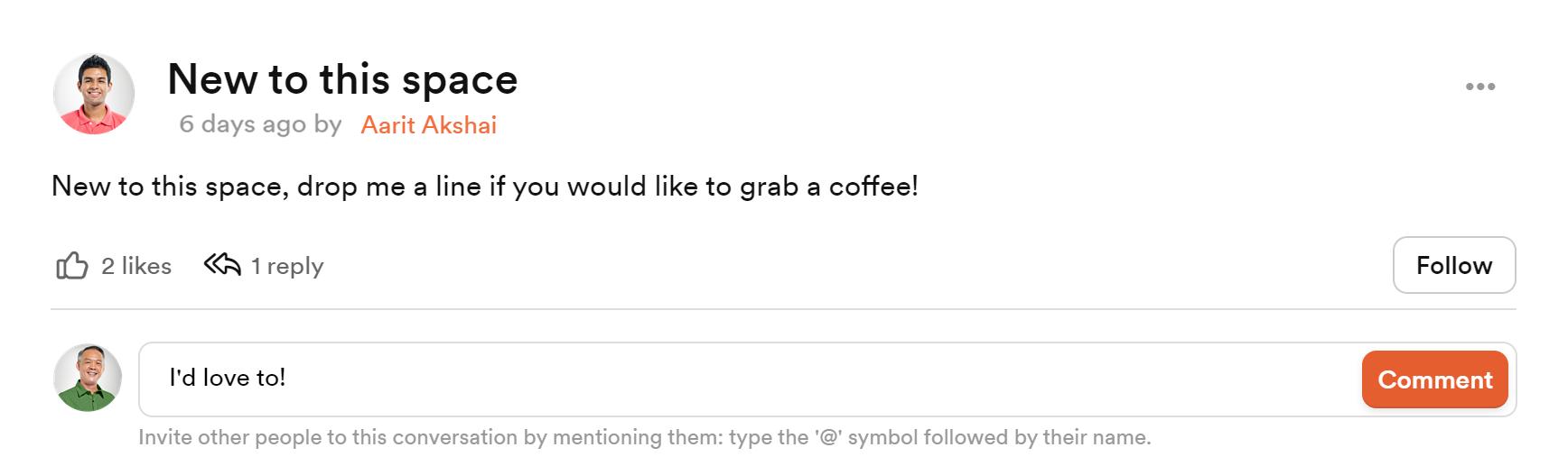 new members' portal leave a comment screenshot