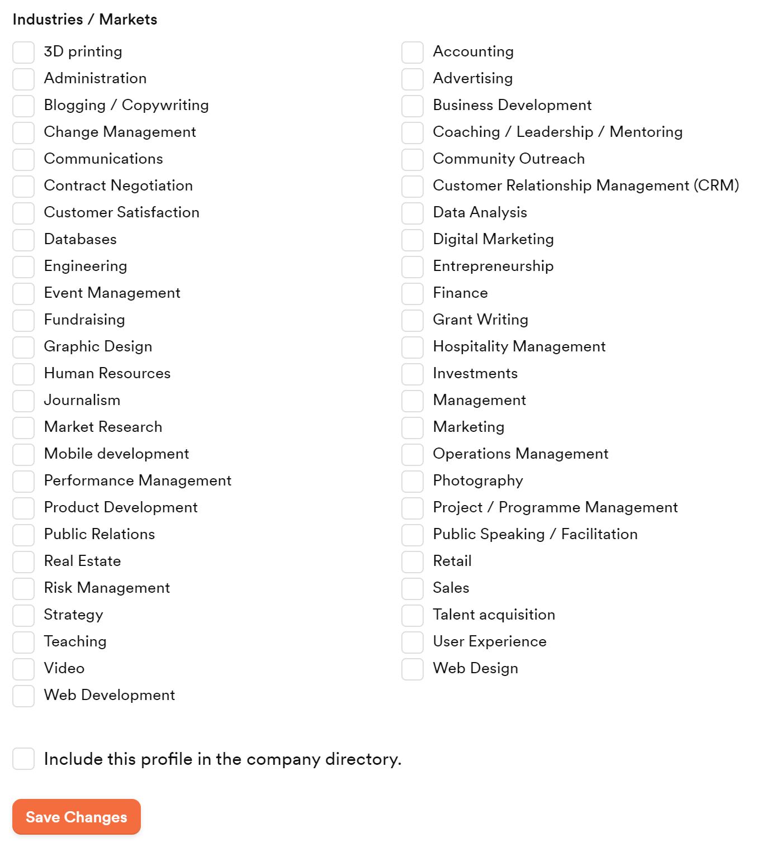 new members' portal industry fields