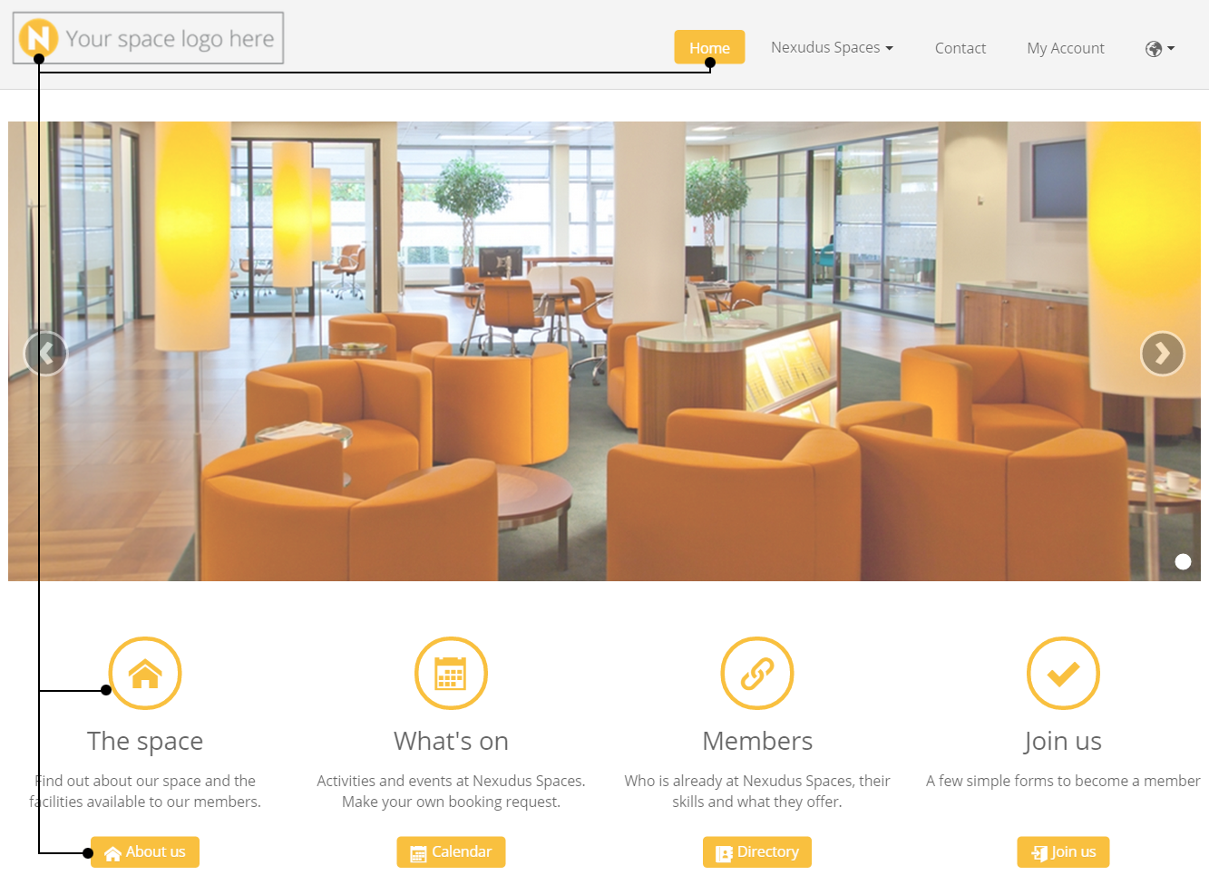 In Spaces All You Have To Do Is Add Your Logo And The Platform Recognises Its Main Colour Adapts Website Scheme It